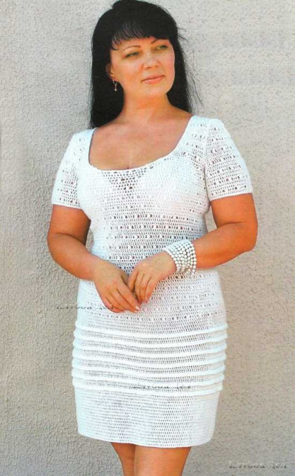 ​White Crochet Dress with Beads