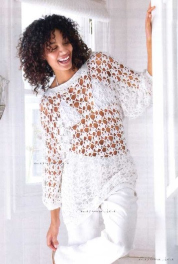 ​White Crochet Tunic