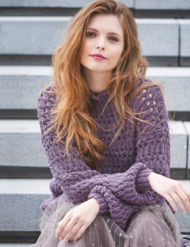 ​Knit Pullover with Relief Rib
