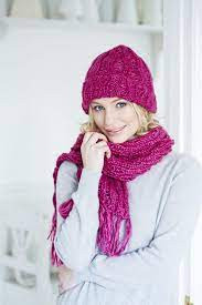 Inspiration. Knit Set of Hat and Scarf.
